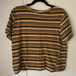 ZARA TRAFALUC Mustard Yellow Striped Crop Top